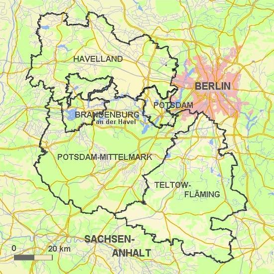 Karte mit Abgrenzung der Region Havelland-Fläming